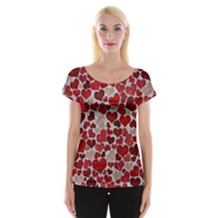 Sparkling Hearts, Red Women s Cap Sleeve Top