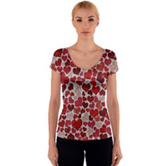 Sparkling Hearts, Red Women s V-Neck Cap Sleeve Top