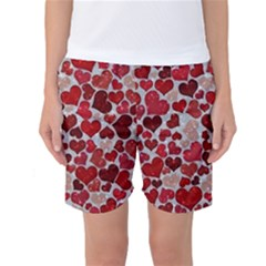 Sparkling Hearts, Red Women s Basketball Shorts