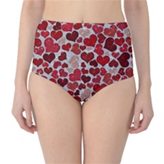 Sparkling Hearts, Red High-Waist Bikini Bottoms