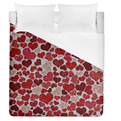 Sparkling Hearts, Red Duvet Cover Single Side (Full/Queen Size)