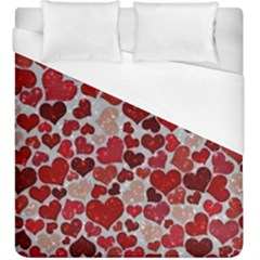 Sparkling Hearts, Red Duvet Cover Single Side (KingSize)