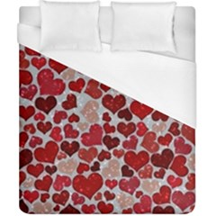 Sparkling Hearts, Red Duvet Cover Single Side (Double Size)