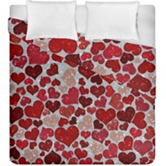 Sparkling Hearts, Red Duvet Cover (King Size)