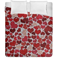 Sparkling Hearts, Red Duvet Cover (Double Size)