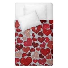 Sparkling Hearts, Red Duvet Cover (Single Size)
