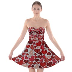 Sparkling Hearts, Red Strapless Bra Top Dress