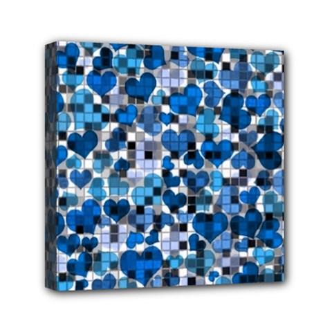 Hearts And Checks, Blue Mini Canvas 6  x 6