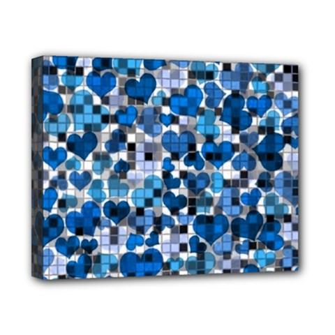 Hearts And Checks, Blue Canvas 10  X 8