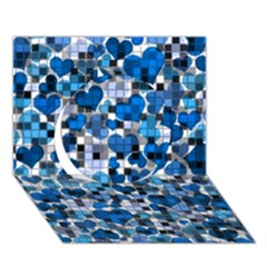 Hearts And Checks, Blue Circle 3D Greeting Card (7x5)