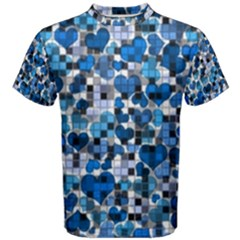 Hearts And Checks, Blue Men s Cotton Tees