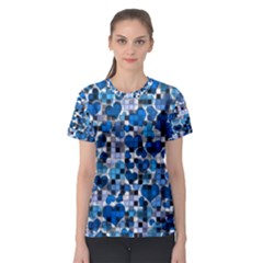 Hearts And Checks, Blue Women s Sport Mesh Tees