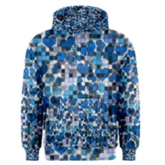 Hearts And Checks, Blue Men s Pullover Hoodies