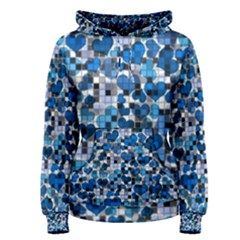 Hearts And Checks, Blue Women s Pullover Hoodies