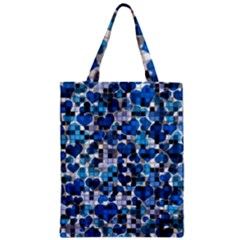 Hearts And Checks, Blue Zipper Classic Tote Bags