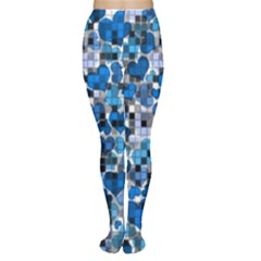 Hearts And Checks, Blue Women s Tights