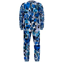 Hearts And Checks, Blue Onepiece Jumpsuit (men)