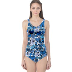Hearts And Checks, Blue Women s One Piece Swimsuits