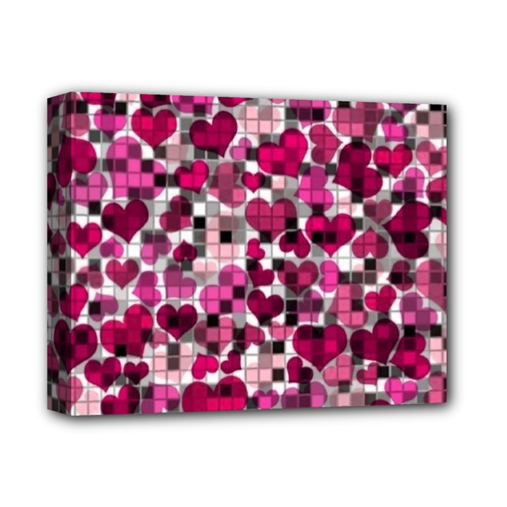 Hearts And Checks, Pink Deluxe Canvas 14  x 11