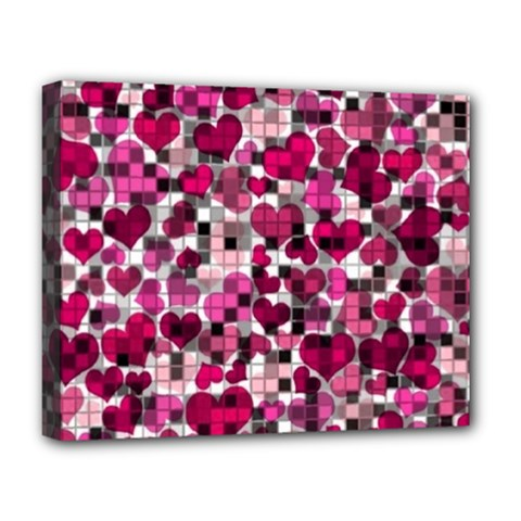 Hearts And Checks, Pink Deluxe Canvas 20  x 16