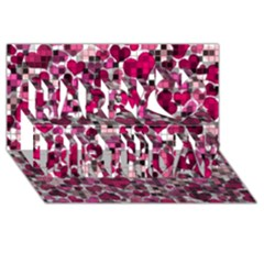 Hearts And Checks, Pink Happy Birthday 3D Greeting Card (8x4)