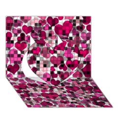 Hearts And Checks, Pink Heart 3d Greeting Card (7x5)