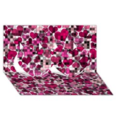 Hearts And Checks, Pink Twin Hearts 3D Greeting Card (8x4)