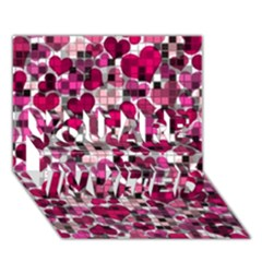 Hearts And Checks, Pink YOU ARE INVITED 3D Greeting Card (7x5)