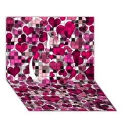 Hearts And Checks, Pink Apple 3D Greeting Card (7x5)