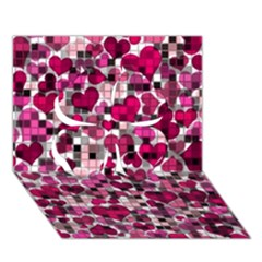 Hearts And Checks, Pink Clover 3D Greeting Card (7x5)