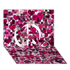 Hearts And Checks, Pink Peace Sign 3D Greeting Card (7x5)