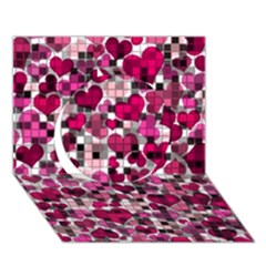 Hearts And Checks, Pink Circle 3D Greeting Card (7x5)