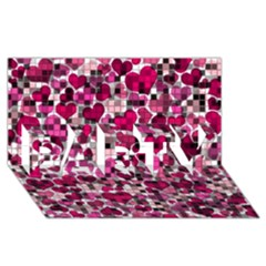 Hearts And Checks, Pink Party 3d Greeting Card (8x4)