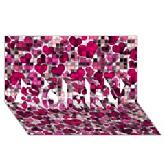 Hearts And Checks, Pink SORRY 3D Greeting Card (8x4)