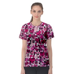 Hearts And Checks, Pink Women s Sport Mesh Tees