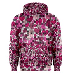 Hearts And Checks, Pink Men s Pullover Hoodies