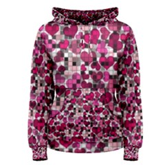 Hearts And Checks, Pink Women s Pullover Hoodies