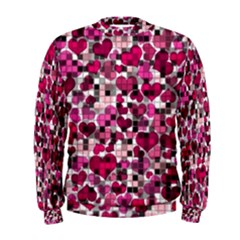 Hearts And Checks, Pink Men s Sweatshirts