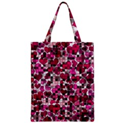 Hearts And Checks, Pink Zipper Classic Tote Bags