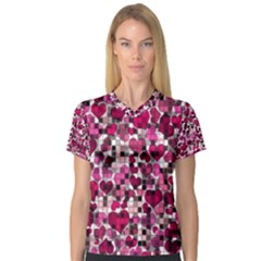 Hearts And Checks, Pink Women s V-Neck Sport Mesh Tee