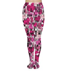 Hearts And Checks, Pink Women s Tights