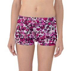 Hearts And Checks, Pink Boyleg Bikini Bottoms