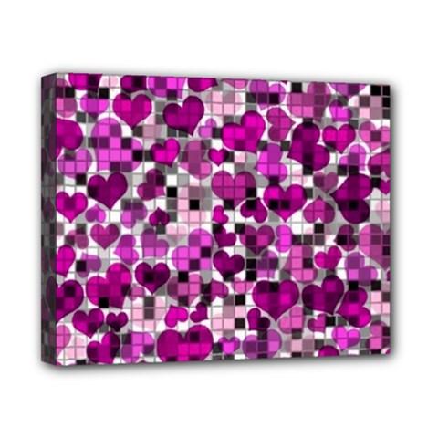 Hearts And Checks, Purple Canvas 10  x 8