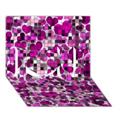 Hearts And Checks, Purple I Love You 3d Greeting Card (7x5)