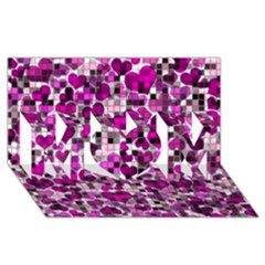 Hearts And Checks, Purple Mom 3d Greeting Card (8x4)