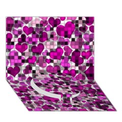 Hearts And Checks, Purple Circle Bottom 3D Greeting Card (7x5)
