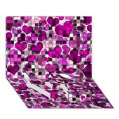Hearts And Checks, Purple LOVE Bottom 3D Greeting Card (7x5)