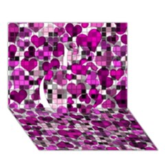 Hearts And Checks, Purple Apple 3D Greeting Card (7x5)