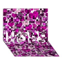 Hearts And Checks, Purple HOPE 3D Greeting Card (7x5)