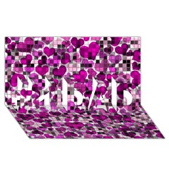 Hearts And Checks, Purple #1 Dad 3d Greeting Card (8x4)